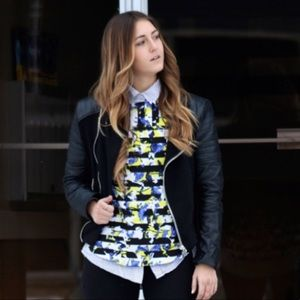 Peter Pilotto Striped Yellow Floral Blouse